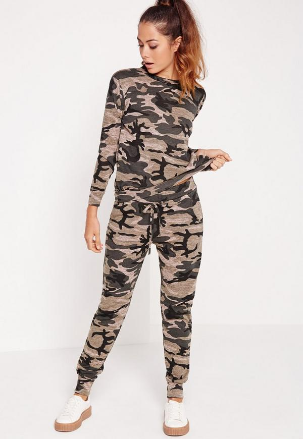 Camo Print Skinny Joggers Multi