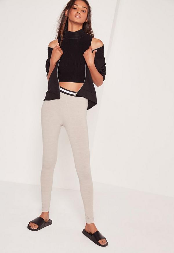 Stripe Waist Leggings Grey