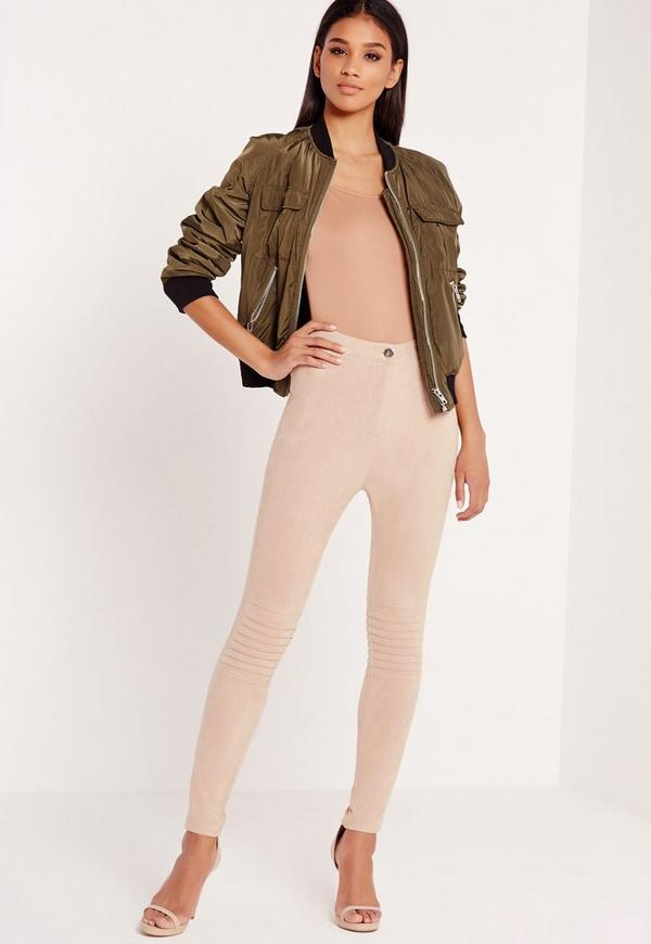 Faux Suede Biker Knee Leggings Nude