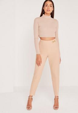 Buckle Detail Crepe Pants Nude
