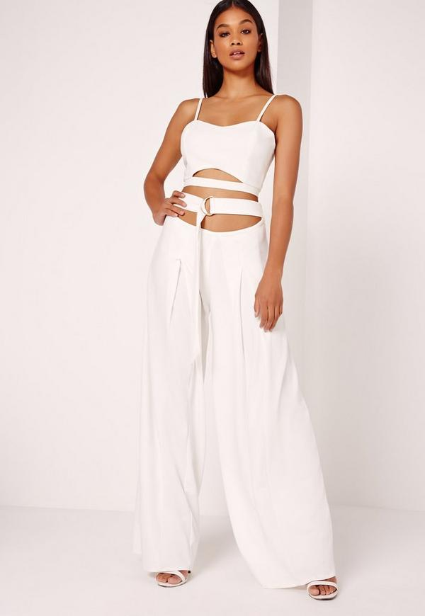 Wide Leg Buckle Waist Detail Trousers White