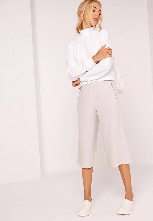 Circular Ring Zip Detail Culottes Grey