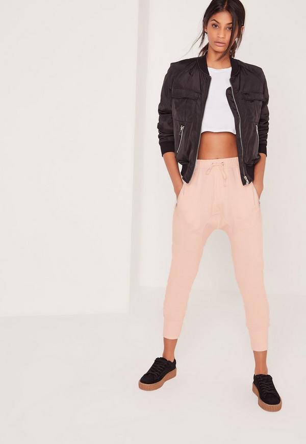 Drop Crotch Detail Joggers Pink