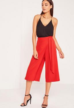 Wrap Belted Culottes Red