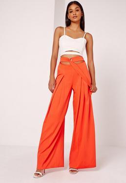 Wide Leg Buckle Waist Detail Trousers Orange