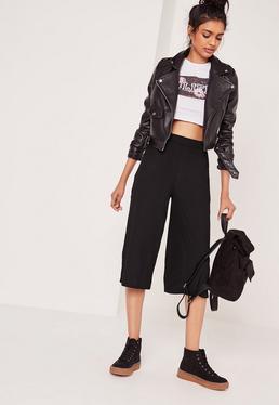 Jupe-culotte noire côtelée