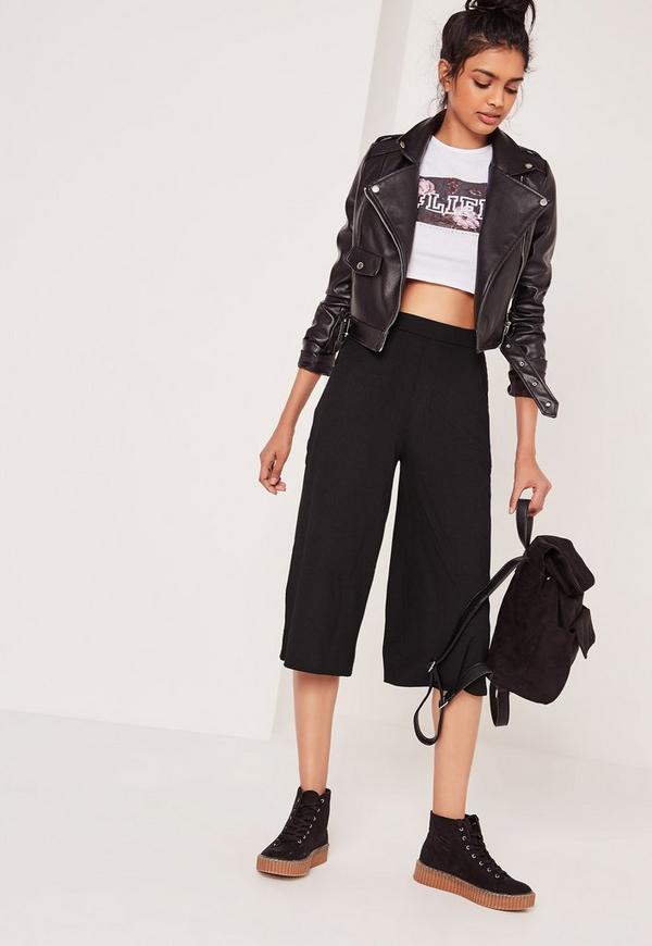 Ribbed Casual Culottes Black