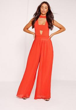 Pleated Wide Leg Pants Orange