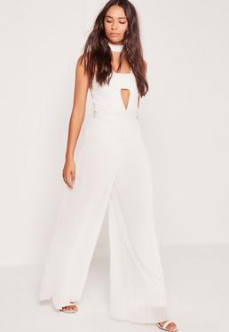 Pantalon large blanc plissé
