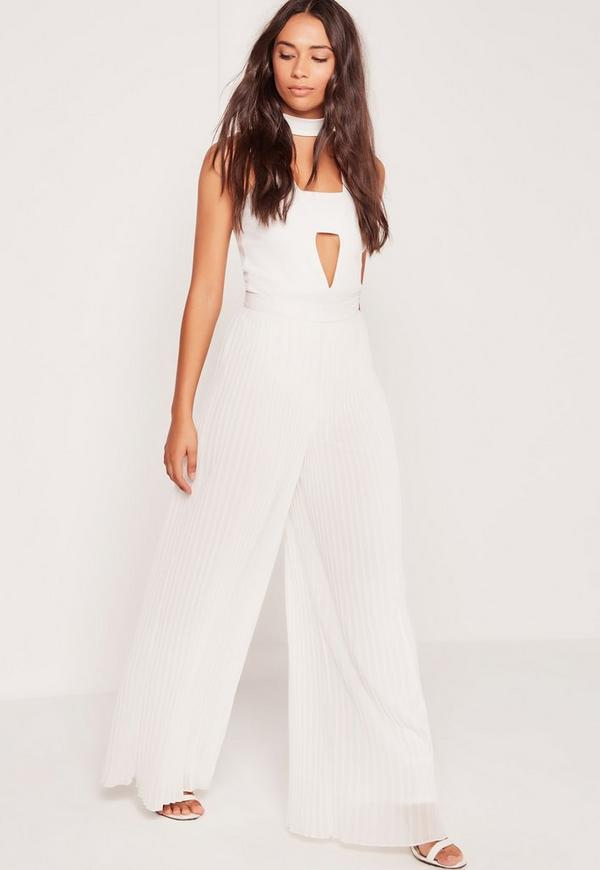 Pleated Wide Leg Trousers White