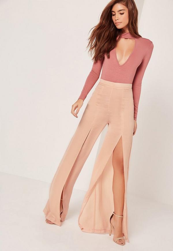 Wide Leg Satin Split Trousers Blush Pink
