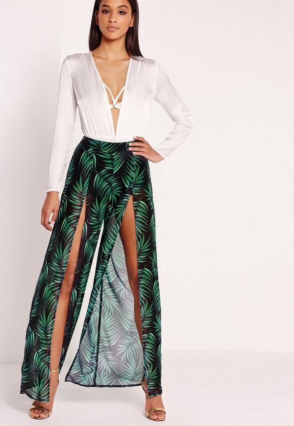 Palm Print Chiffon Trousers Green