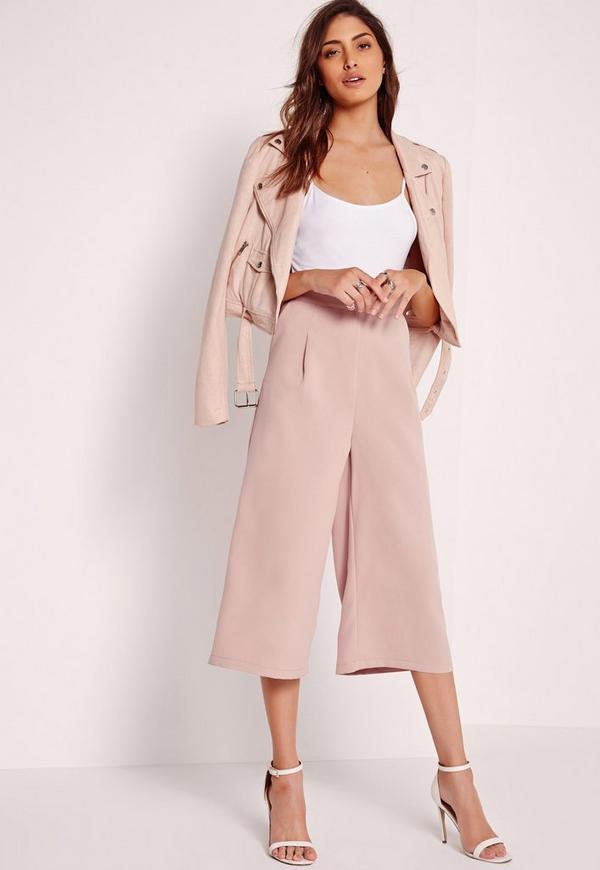 Premium Crepe Pleat Front Culottes Pink
