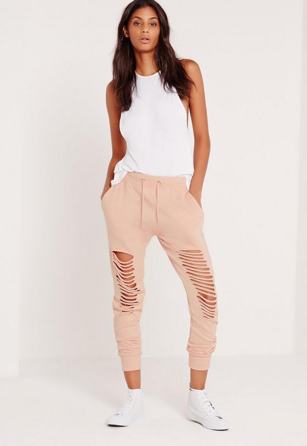 Extreme Distressed Knee Joggers Nude