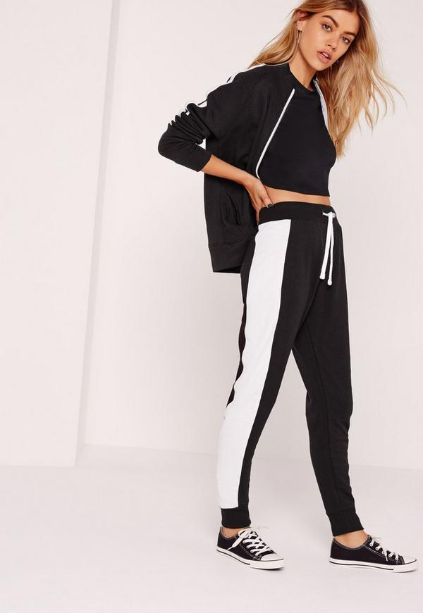 Side Stripe Cuffed Joggers Black