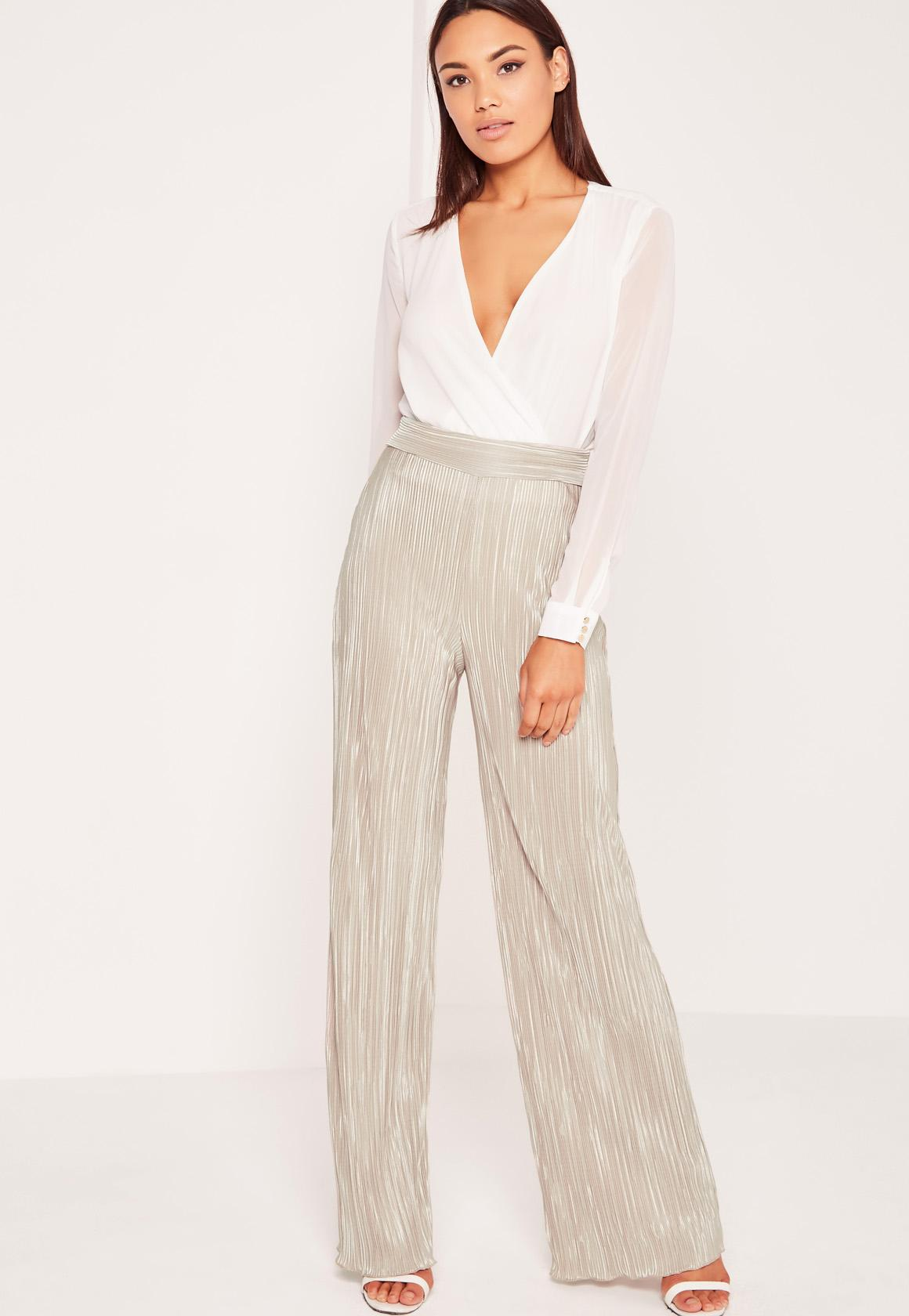 Crinkle Wide Leg Pants Gold | Missguided