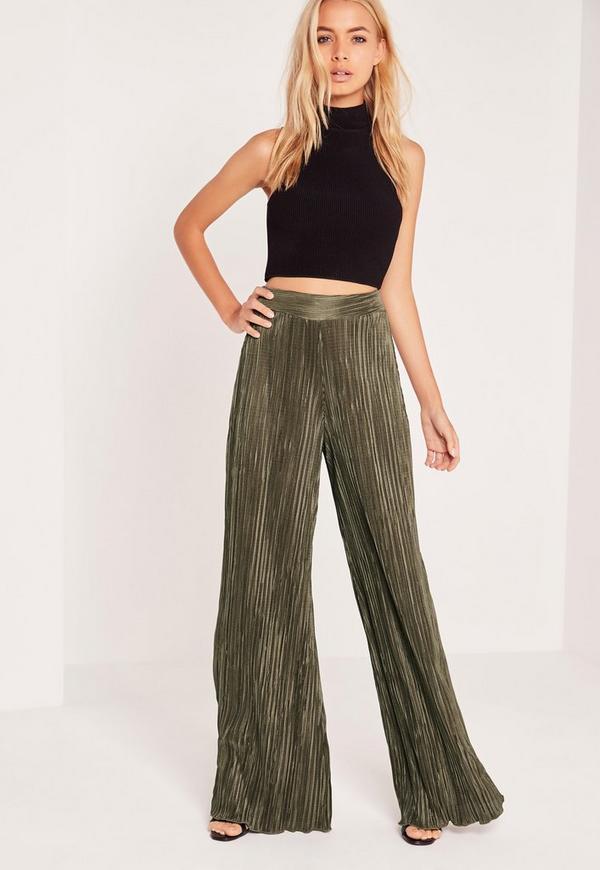 Crinkle Wide Leg Trouser Khaki