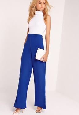 Premium Crepe Wide Leg Pants Blue