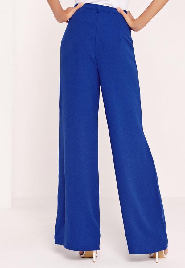 pantalon premium large taille haute bleu missguided. Black Bedroom Furniture Sets. Home Design Ideas