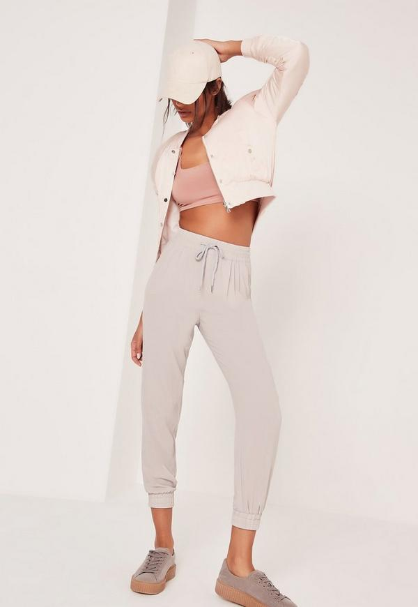 Tie Waist Formal Joggers Grey