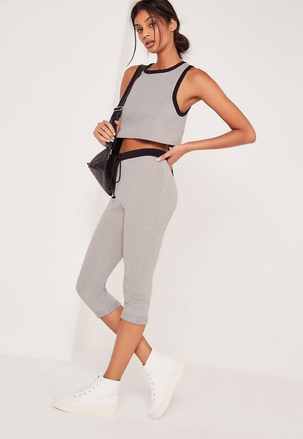 Crop Heavyweight Legging Contrast Waistband Grey