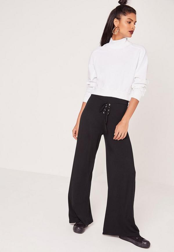 Eyelet Lace Up Jersey Wide Leg Trousers Black