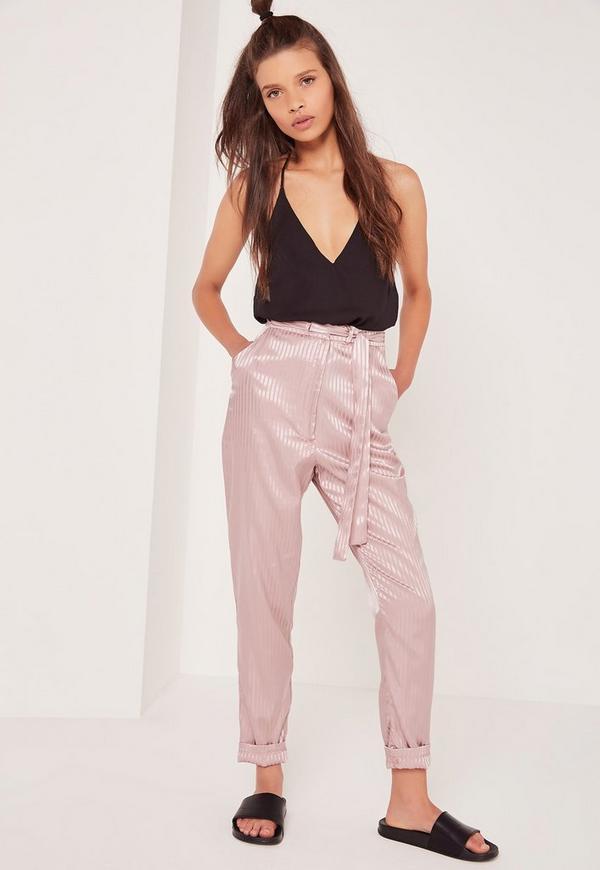 Silk Stripe Premium Tie Waist Trousers Pink