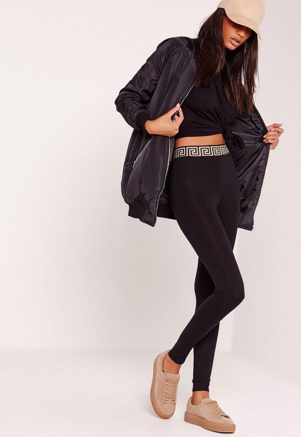 Aztec Waist Jersey Leggings Black