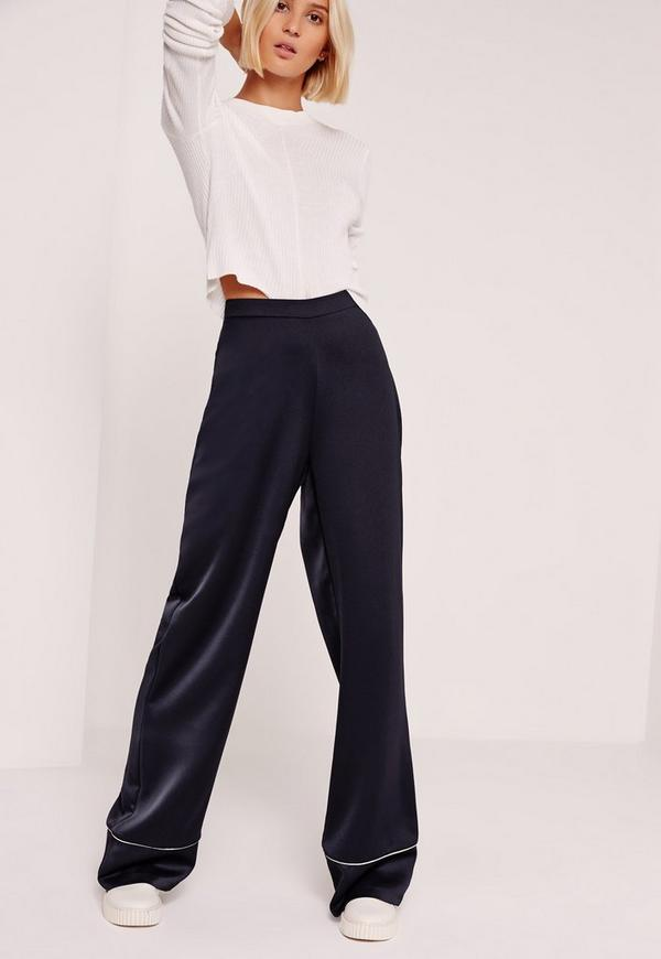 Premium Satin Piped Detail Trousers Navy