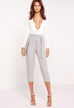 crepe tie waist tapered cropped trousers grey