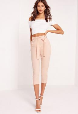 crepe tie waist tapered cropped pants pink