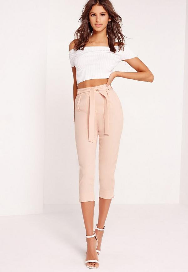 crepe tie waist tapered cropped trousers pink