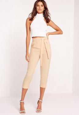 Crepe Tie Waist Tapered Trousers Nude