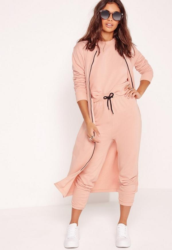 Tie Front Joggers Pink