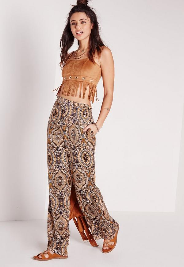 Paisley Woven Skinny Flare Trousers