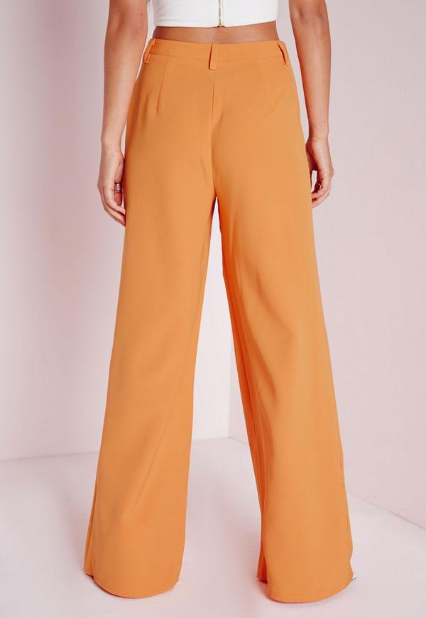 High Waisted Wide Leg Pants Orange - Pants - Missguided