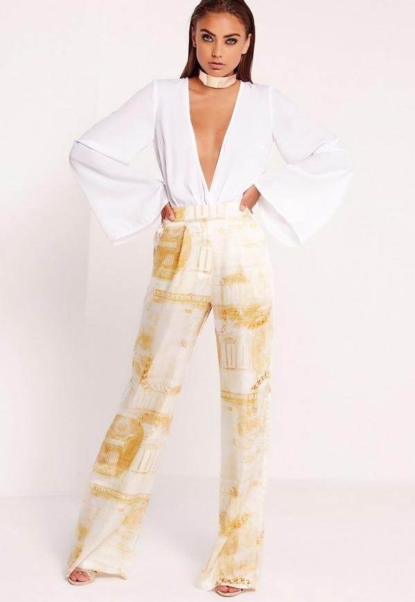 Silky Dollar Print Wide Leg Trousers Gold