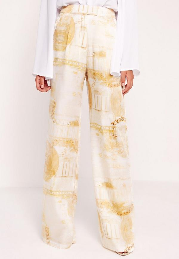 Peace Love Silky Dollar Print Wide Leg Pants Gold