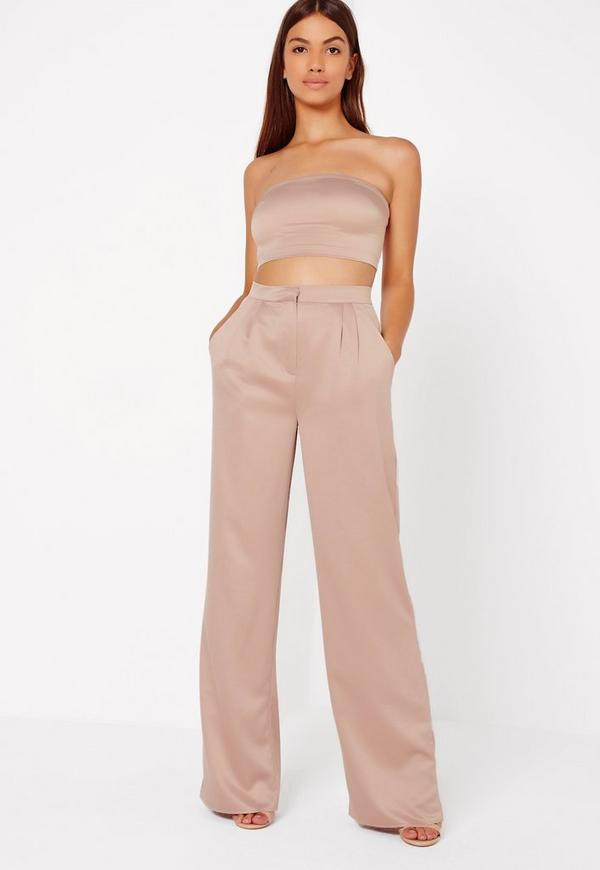 Nude Satin Wide Leg Trousers