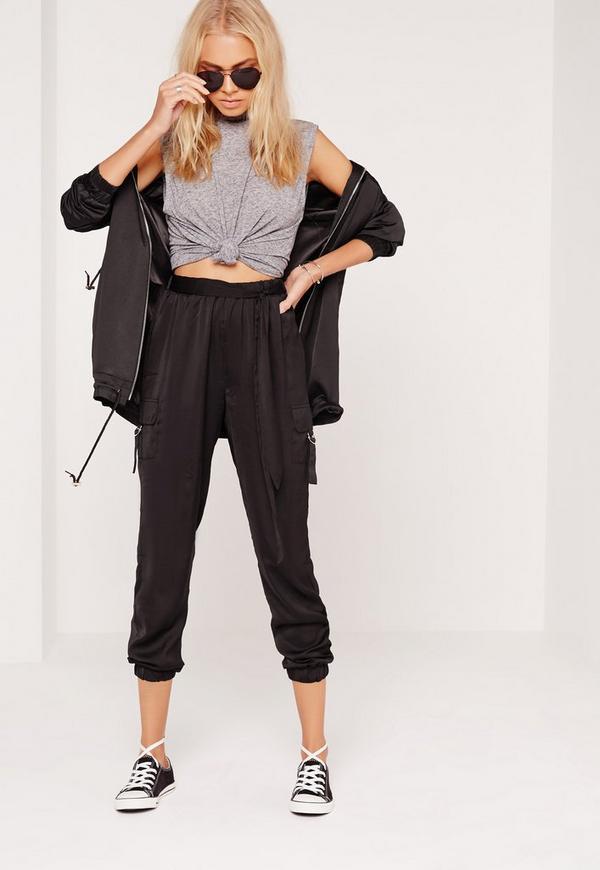 Side Pocket D Ring Trousers Black