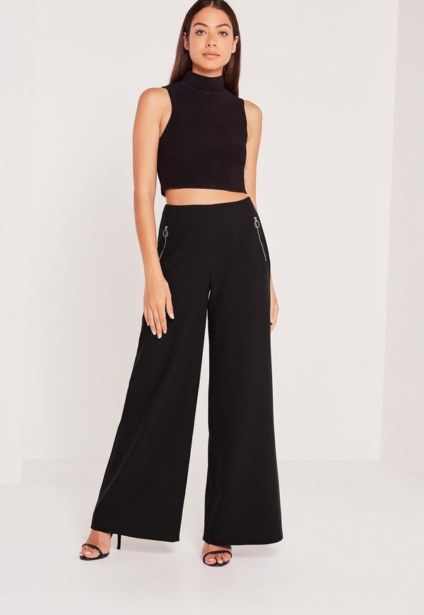 Circular Ring Zip Detail Wide Leg Trousers Black