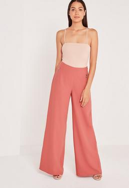 Circular Ring Zip Detail Wide Leg Pants Pink