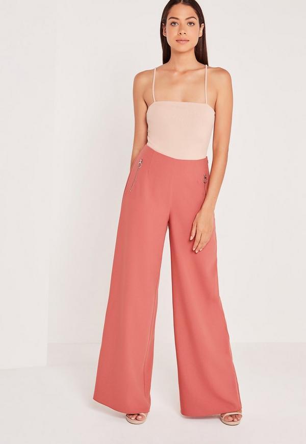 Circular Ring Zip Detail Wide Leg Trousers Pink