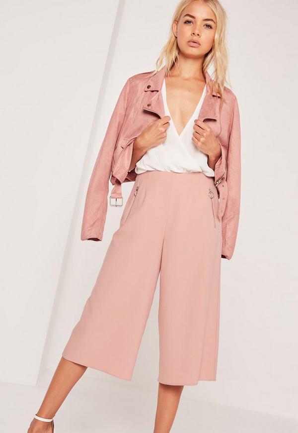 Circular Ring Zip Detail Culottes Pink