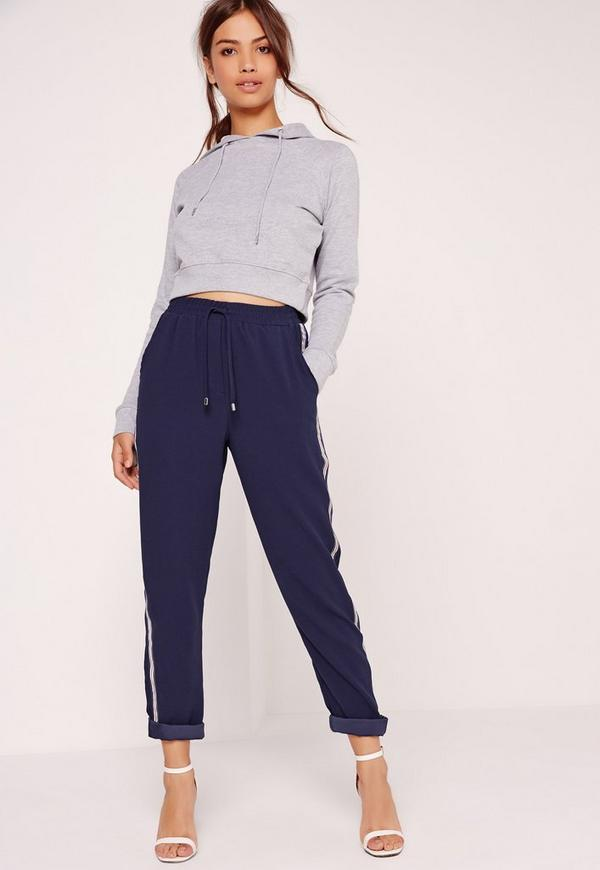 Crepe Side Stripe Joggers Navy