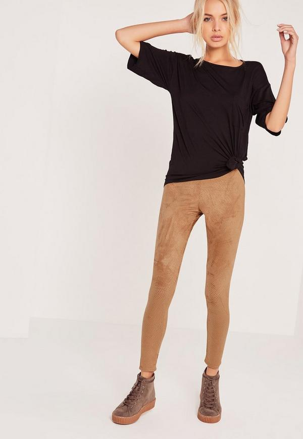 Perforated Suede Leggings Tan