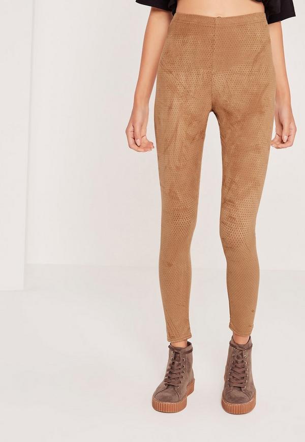 Perforated Suede Leggings Tan