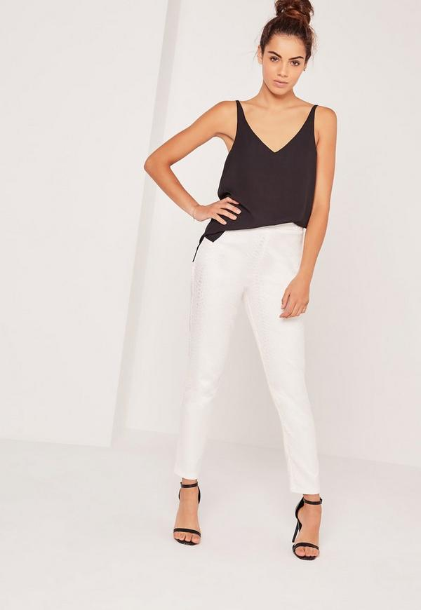 Snake Textured Cigarette Trousers White