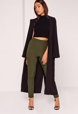 Pantalon en crêpe vert kaki