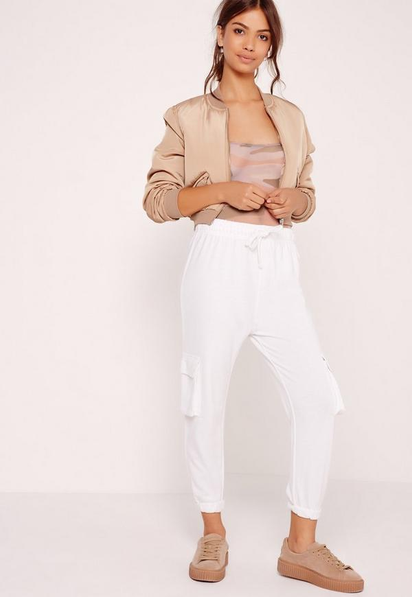 Side Pocket Cropped Joggers White